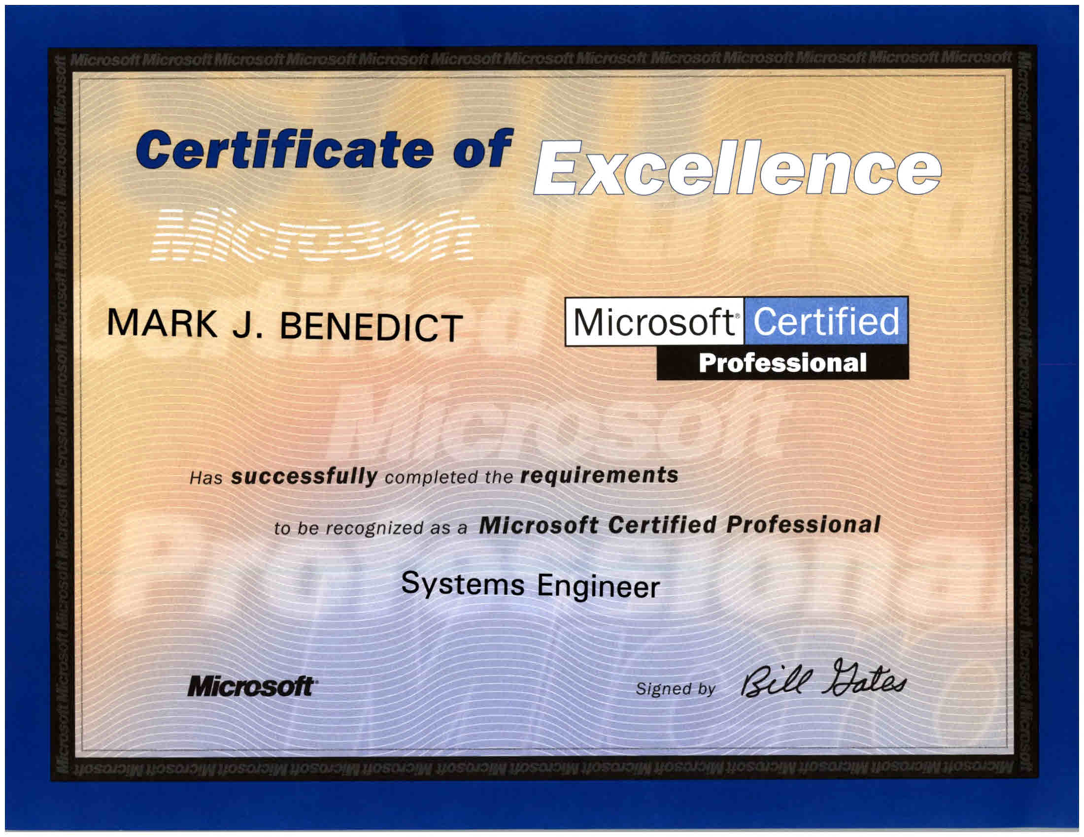 Technical certifications mark j benedict technology leader microsoft certified systems engineer windows nt mcse september 1998 xflitez Image collections