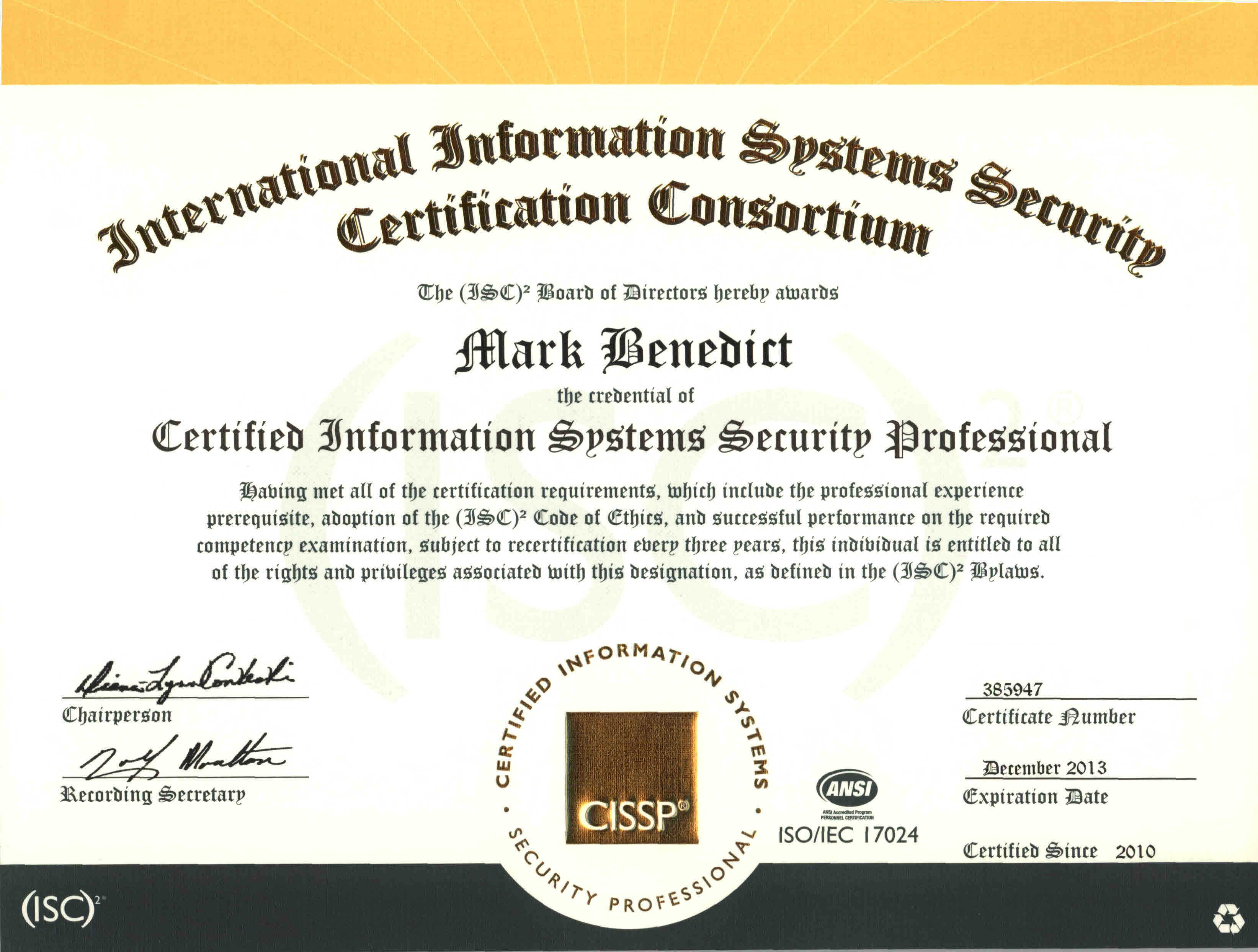 Technical Certifications Mark J Benedict Technology Leader