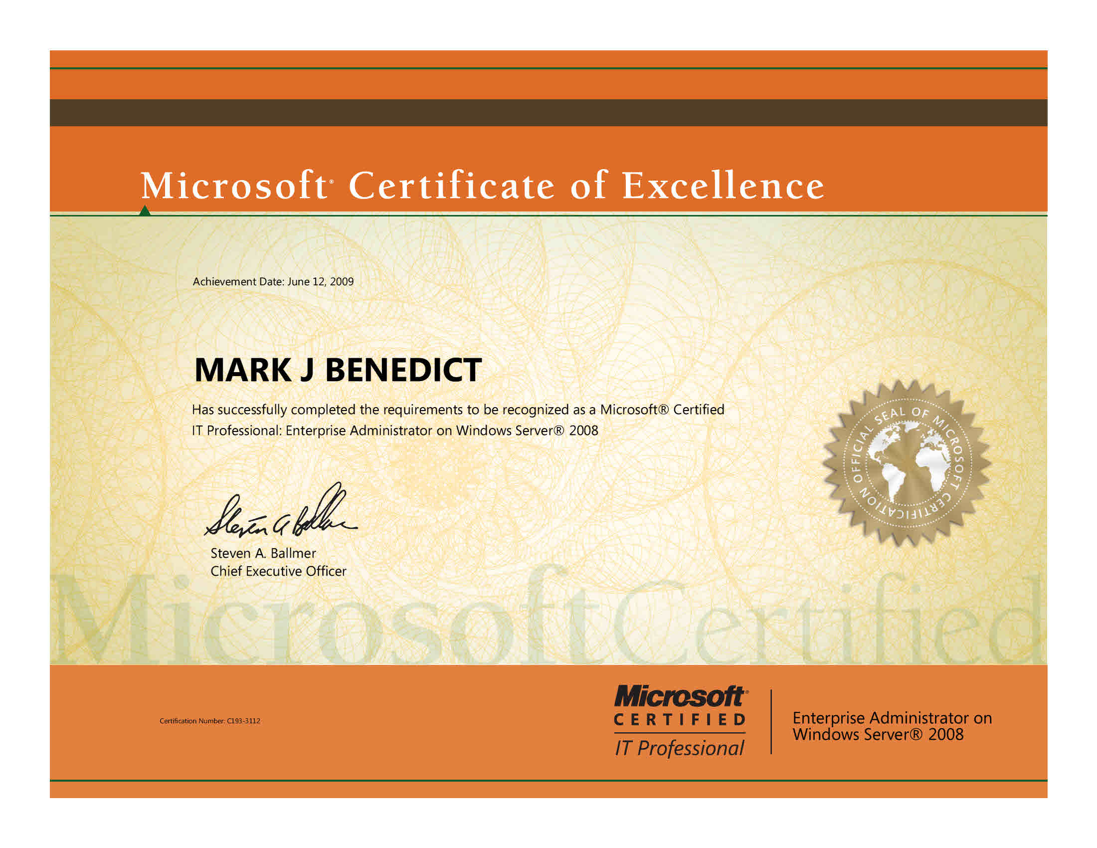 Technical certifications mark j benedict technology leader mcitp windows server 2008 applications infrastructure configuration 1betcityfo Choice Image